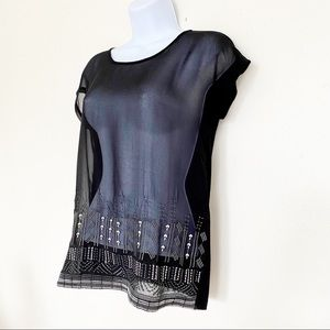 The Limited Tops - THE LIMITED Black Tee With Embroidery Trim, XS
